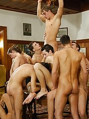 These horny guys are spending their weekend in one of their friends' villa free gay group sex movies