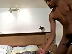 When his military buddy, Jay Renfro, walks in and see this massive cock, he is just floored by it and just wants to devour it, lick it, and blow it am