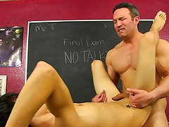 Scott Alexander's out of time on his final exam, but he is prepared to work over his teacher, Brock Landon his first gay sex video at Teach Twink
