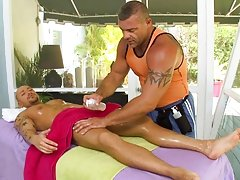 I fucked him like an animal on the massage table until he busted a nut all over himself free male interracial por