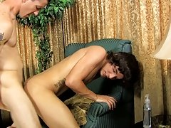 Jacob cums whilst sitting on his ramrod previous to getting on the floor to let Danny shoot his sperm all over his back gay anal sex and a lesbian at