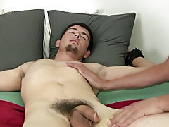 Then my lad alternated between that Fleshlight and his hand making that pecker rock hard, throbbing, and willing to cum