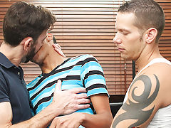 Rimmed out and fed tons of cock, young Robbie Anthony is swapped between them as they slip into his ass and mouth and work their way to a three way cu