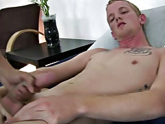 While that toy was stuck deep into his ass, I made him hold up his own leg and began to jerk on his jock myself for awhile abusing gay twinks