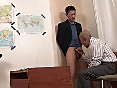 The boy willingly works on the teacher's filthy hole, and, grateful, his older partner licks the cock clean, helping the boy to cream his sexy st