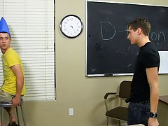 They commit indecent acts against their teacher's desk before leaving it a sticky mess when they both cum boys first sex experience at Teach Twin