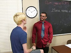 Preston rides Alexsander's cock on his desk before he's bent over to get fucked hard by the tattooed muscle stud 3 men gay hardcore at Teach