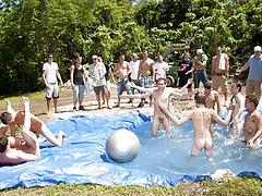 There is nothing like a nice summer time splash, especially when the pool is man made and ghetto rigged as fuck huge gay group sex