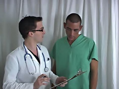 Kyle was instructed to disrobe down to save some time.  It took a whilst for the Doc to acquire me close to cumming.