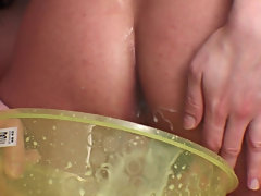 You gotta see our special close-ups of a hard cock penetrating his overfilled anus and pushing the white stuff back outside, now mixed with sticky cum