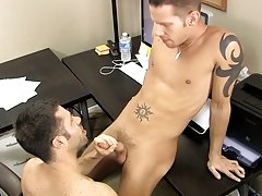 The fellows smack every other's meat previous to Tristan takes control and bends Shane over the desk to fuck him