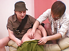 Two long-time homo boyfriends welcome their bi-curious roommate to the world of homosexual sex by giving him an unforgettable anal massage and barebac