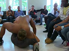 Gay orgy group and gay group having sex at Sausage Party