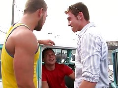 He meets one of his old fuck buddies in the back of a run-down Chevy in some junk yard gay outdoor nudist camp