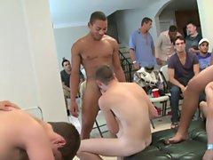 Group men sex and gay group blowjob at Sausage Party