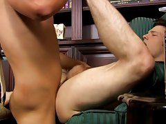 Twink full oral climax and leaking gay cum asshole picture at My Gay Boss