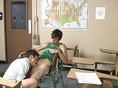A gentle shoulder massage turns into kisses to the neck gay twinks bed at Teach Twinks
