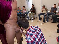 Straight men pissing in groups and gay mad group sex at Sausage Party