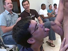Group men pissing and gay oral group sex at Sausage Party