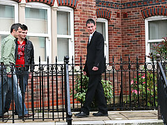 A high-end UK real stratum search turns into caustic three-way romp gay twinks in jock straps