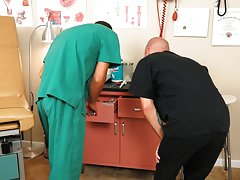 Gay male doctors playing with foreskins and photos of gay cum in straight mouth and ass