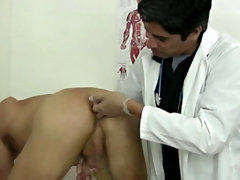 I wanted to exam his hole deeper so I had him get on all fours on the exam table keeping his butt up in the air as I stroked his penis and plunged my