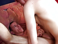 After his poop chute gets worked on enough, he plunges his own beef rocket into the boy's pink asshole  anal porn gay