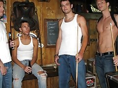 They pair up to suck cock gay group porno at Backroomfuckers