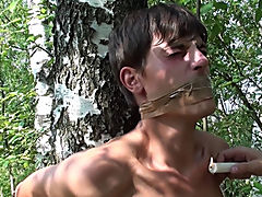 Bound and Waxed Friend male outdoor sex