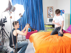 Two teen twinks find themselves in a bedroom - one decides to contract his camera out and the other poses on his bed my first sex teache