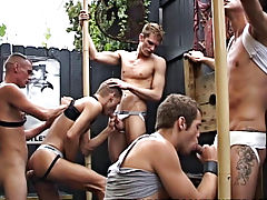 One pair do start fucking at the end of the scene but in the lead up its all blow jobs yahoo groups gay orgy at Backroomfuckers