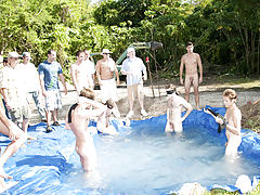 There is nothing like a nice summer time splash, especially when the pool is man made and ghetto rigged as fuck gay group orgy