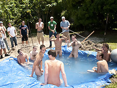 There is nothing like a nice summer time splash, especially when the pool is  made and ghetto rigged as fuck group of guys having sex