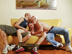 Ben's audition consists of a hypocritical dose of huge cocks as he is tag-teamed by our two hung studs, getting his mouth and ass pounded and str