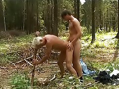 Deep forest young man and old man sex gay outdoor men fuck