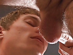 Taylor takes it balls deep and bounces on his cock until Reese can't hold out any longer so he pulls out and shoots hot Cum all over Taylor'