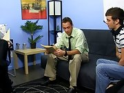 Brian Bonds and Marc Peron need a recent PA in the office and Ryan Sharp is confident he is the one for the job group masturbation male at My Gay Boss