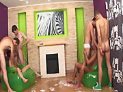 Gay fetish group sex and group sex lucky guy at Crazy Party Boys