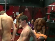 Multiple men group sex and gay fisting group at Sausage Party