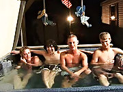 We got 4 boys: Tanner, Dakota, Tommy, and Josh all in the hot tub, ready to make it one hell of a party man group sex